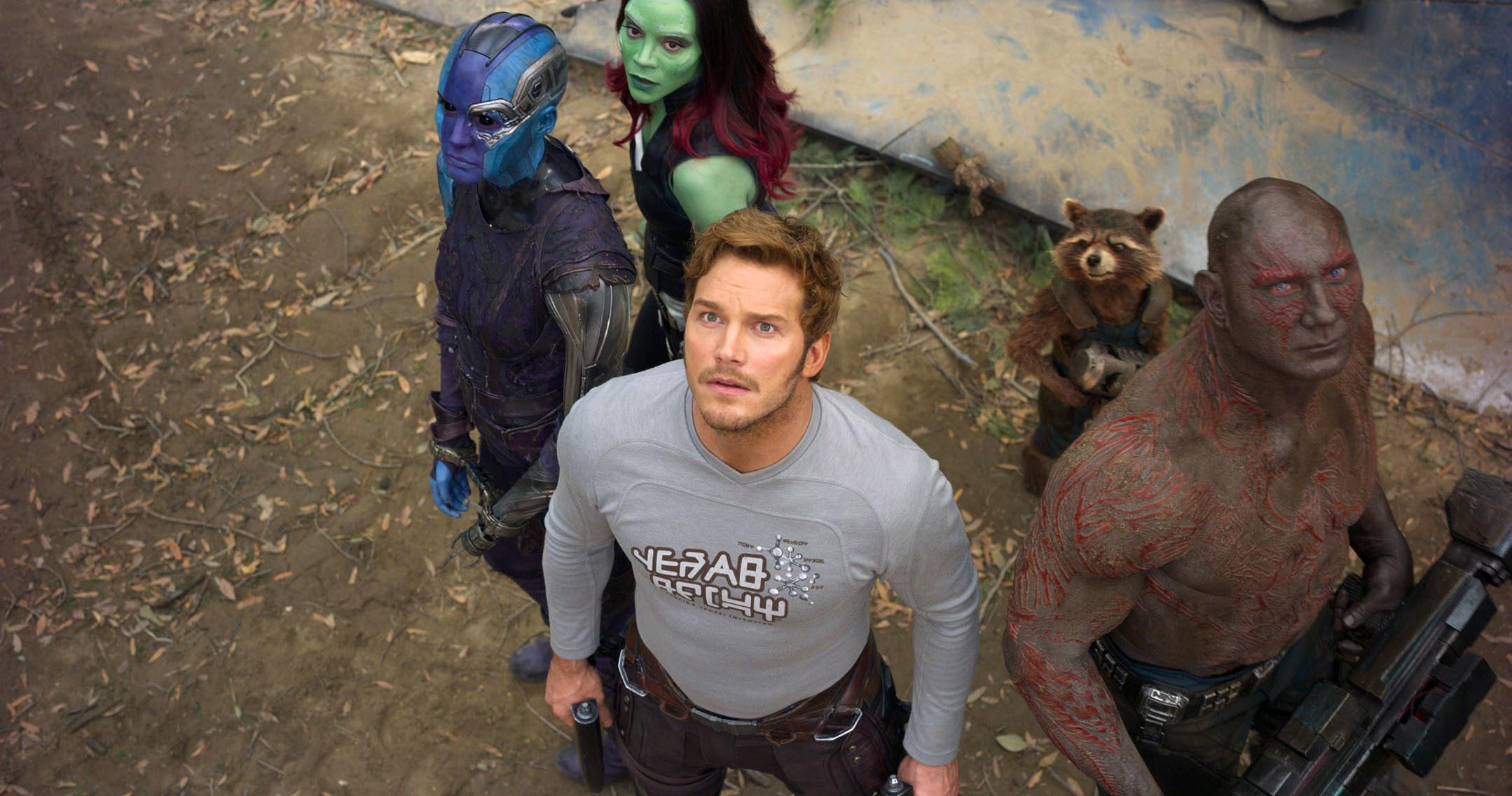 """Zoe Saldana, Karen Gillan, Chris Pratt, Dave Bautista, Rocket (voice: Bradley Cooper), and Groot (voice: Vin Diesel) in """"Guardians of the Galaxy Vol. 2"""""""