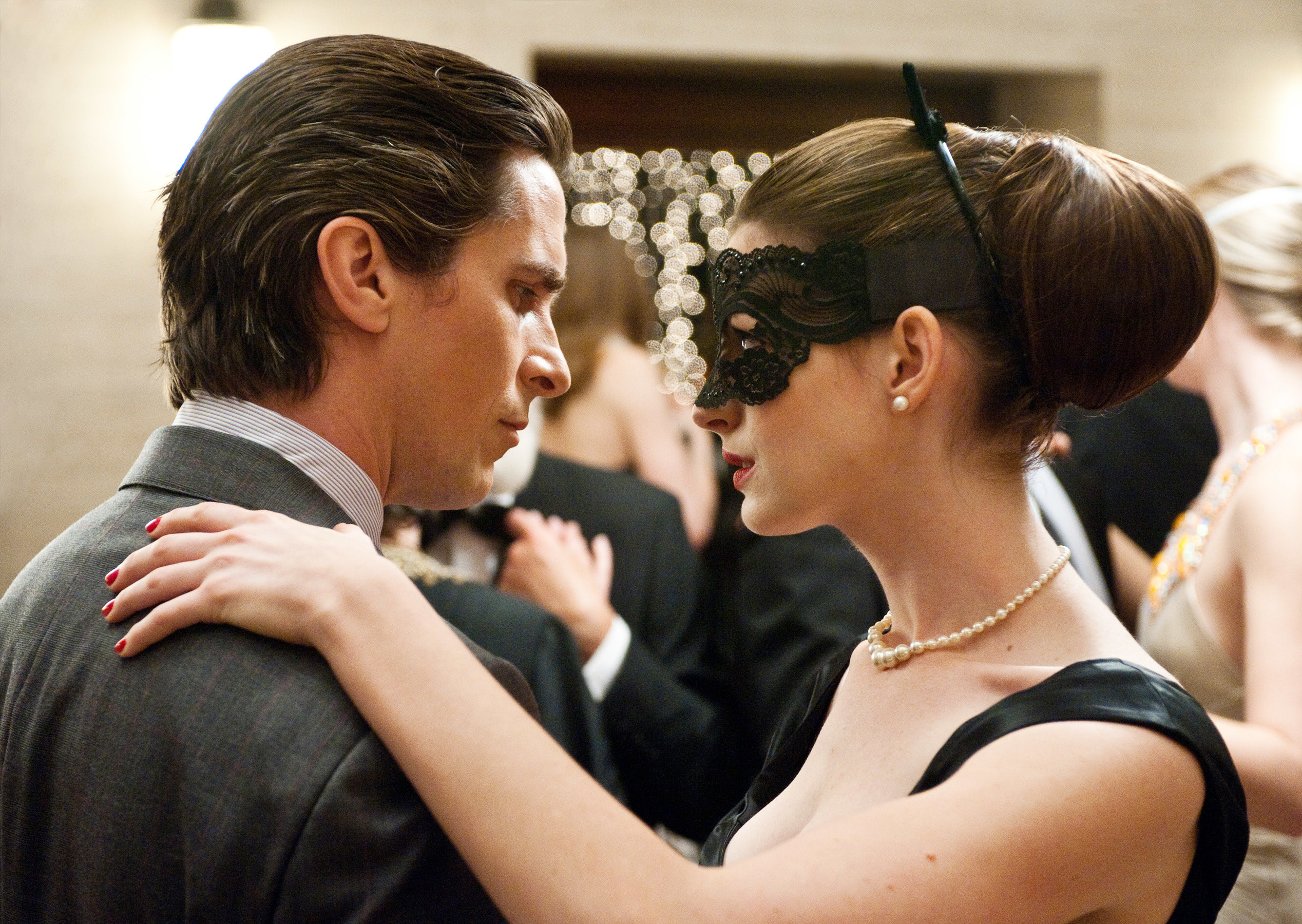 """Christian Bale and Anne Hathaway in """"The Dark Knight Rises"""""""