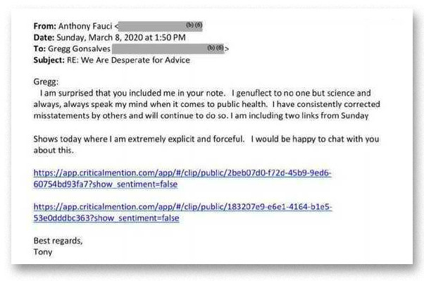 Fauci's response to Gonsalves