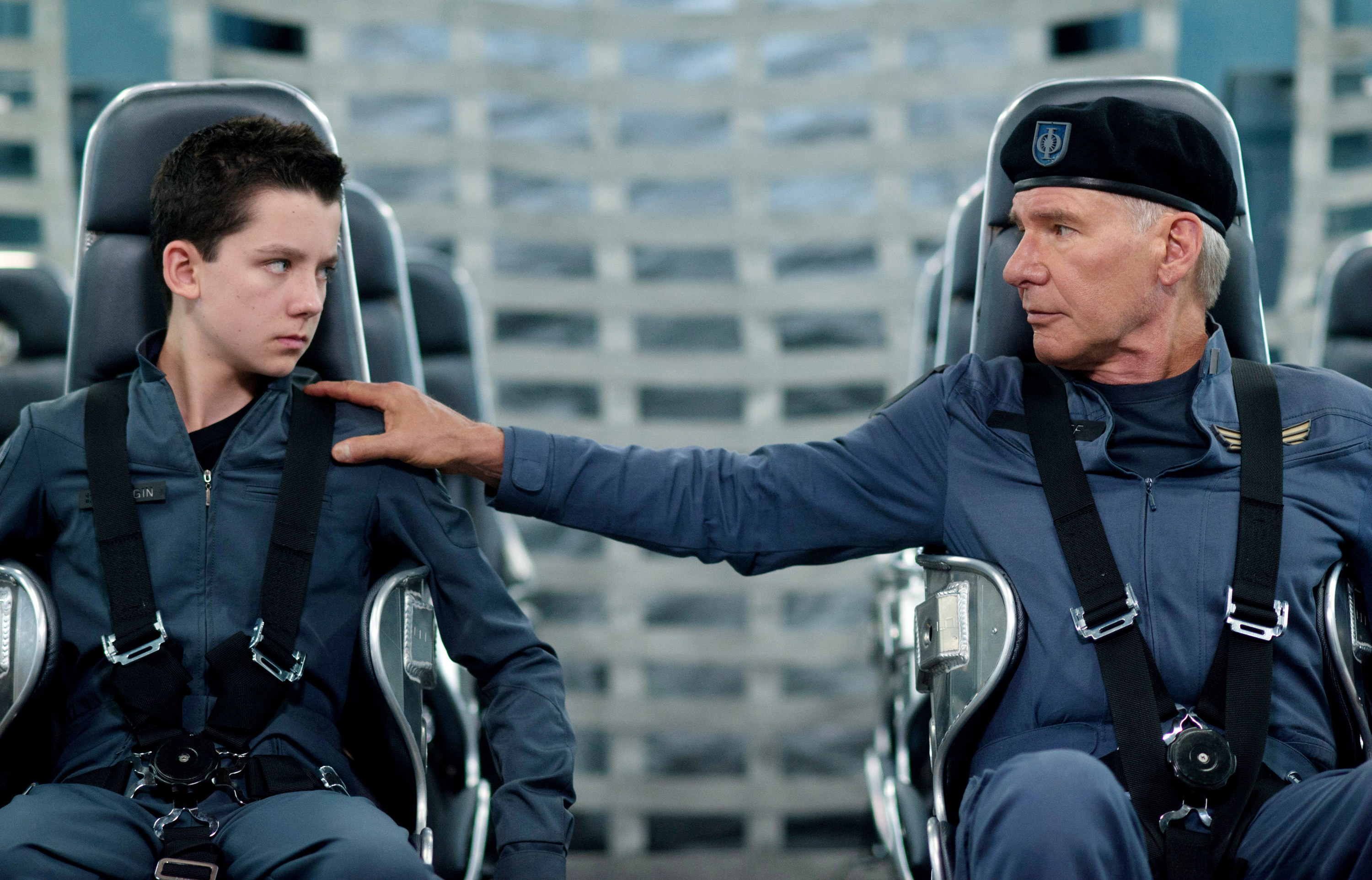 """Asa Butterfield and Harrison Ford in """"Ender's Game"""""""