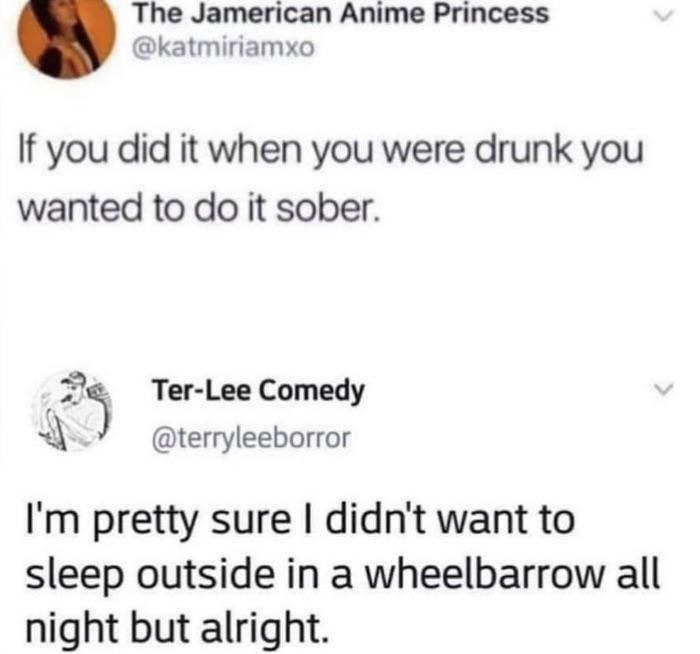 drunk person who slept in a wheelbarrow