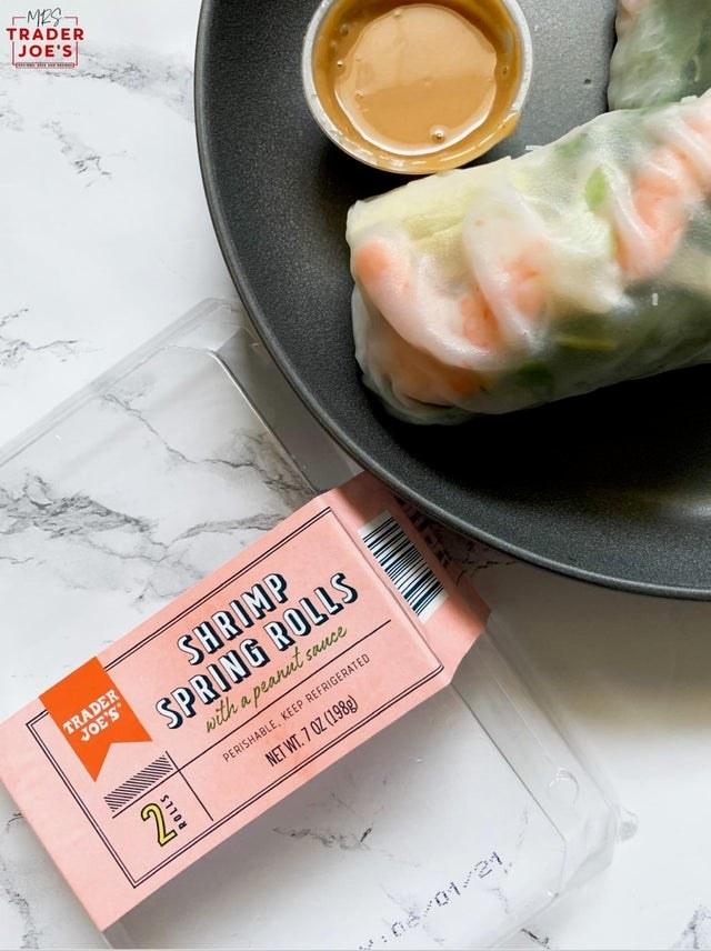 Shrimp spring rolls on a plate.