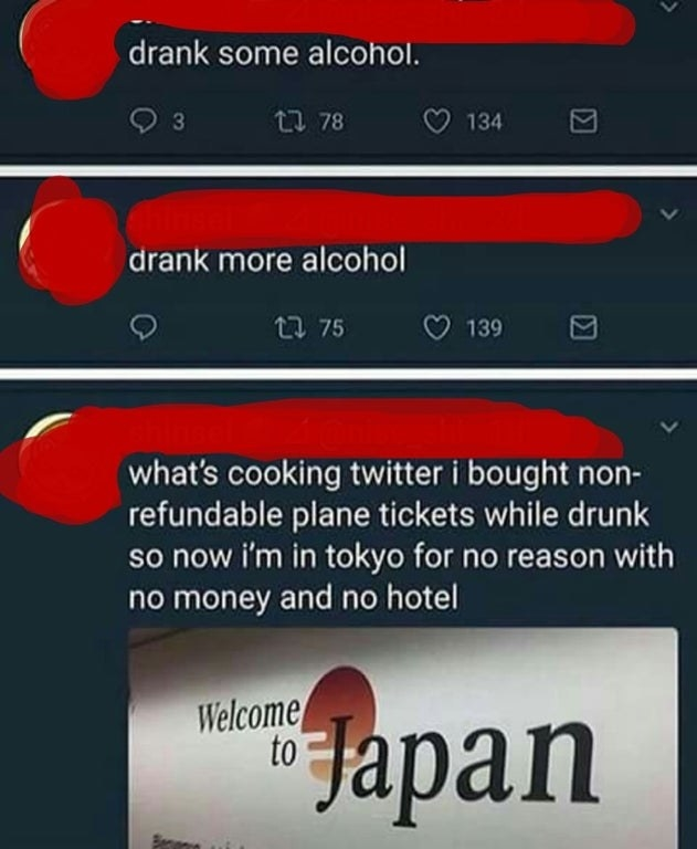 drunk person who buys a ticket to Japan on a whim