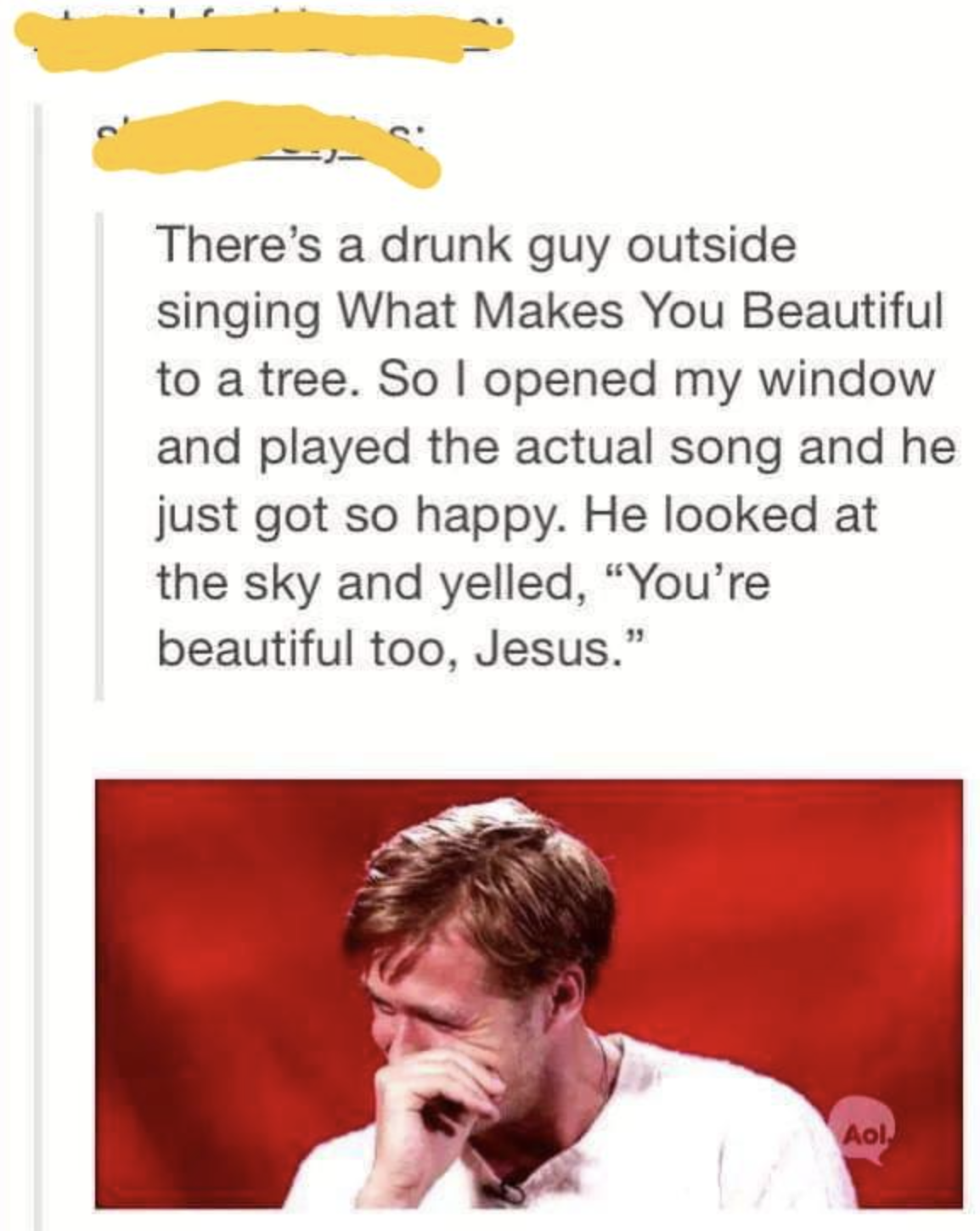 drunk person who sings One Direction to a tree