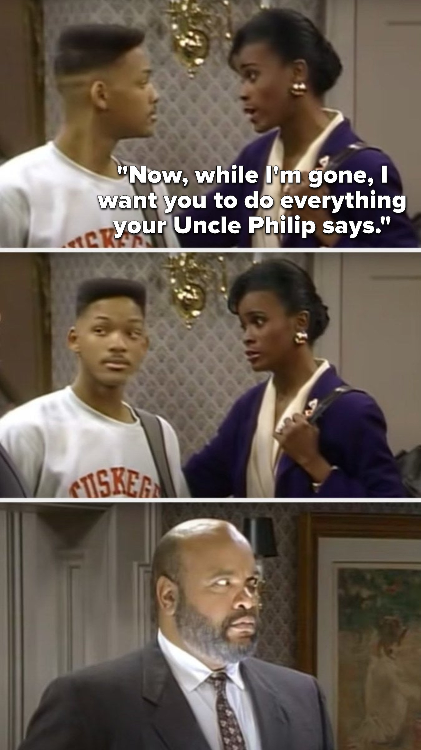"""Aunt Viv says, """"Now, while I'm gone, I want you to do everything your Uncle Philip says,"""" Will turns to Phil and sees that he's lit like an evil monster"""