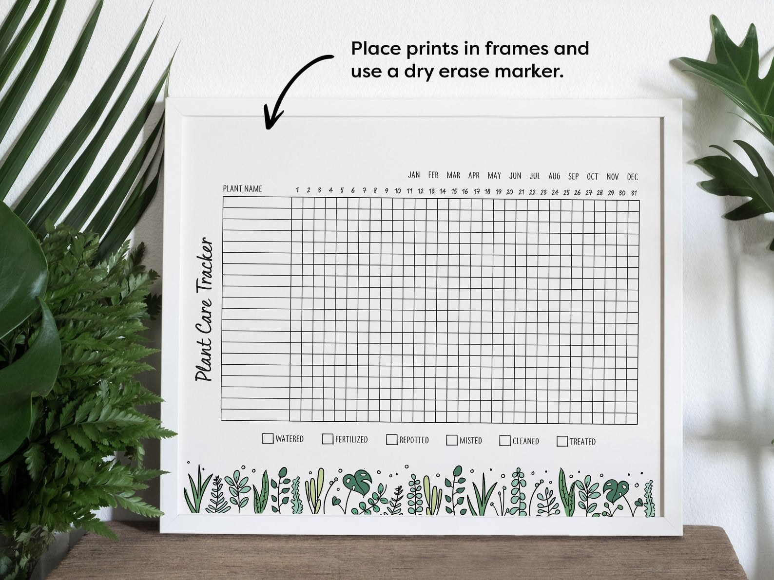 grid chart for tracking plants