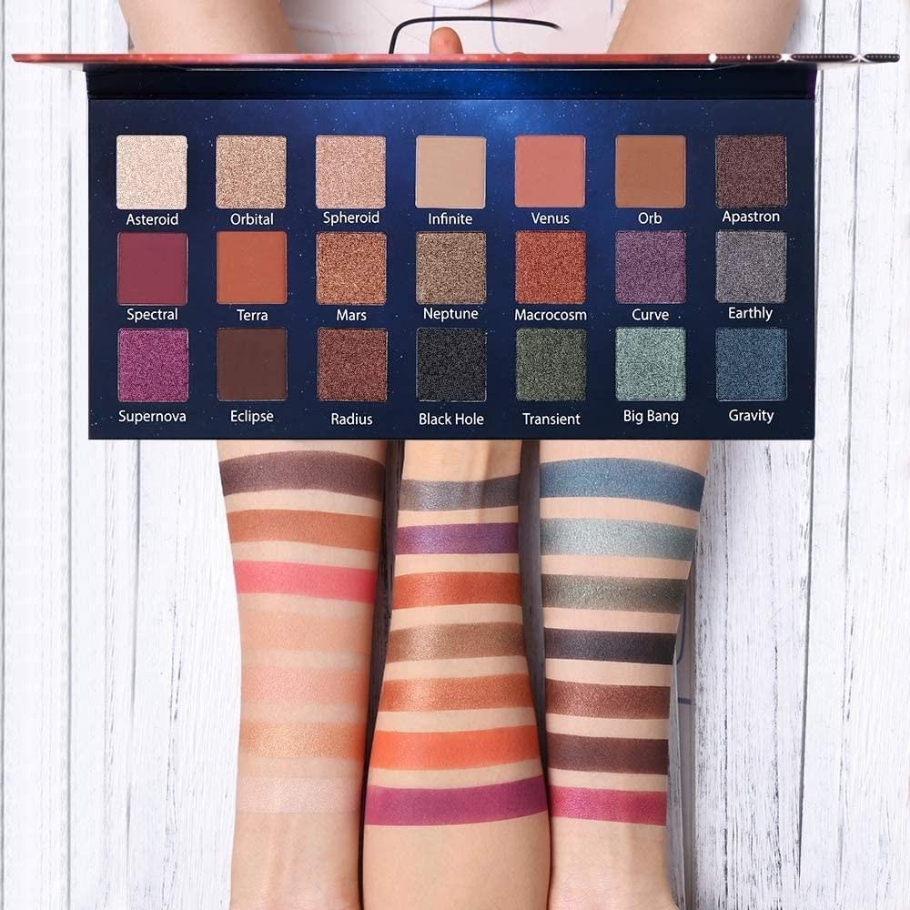 eyeshadow palette with glitzy shades in it