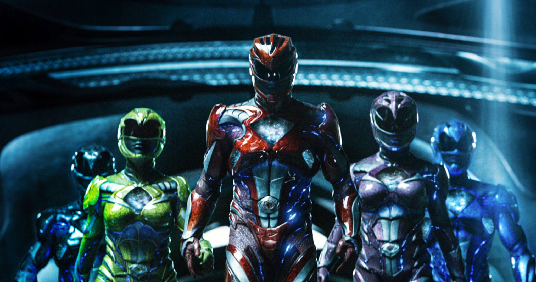 """Ludi Lin, Becky G., Dacre Montgomery, Naomi Scott, and RJ Cyler as the Power Rangers in the 2017 remake """"Power Rangers"""""""