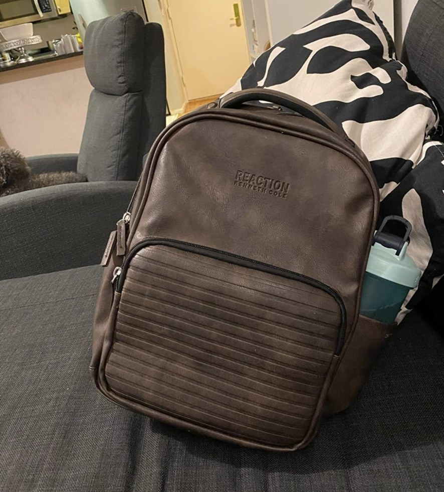 The leather backpack