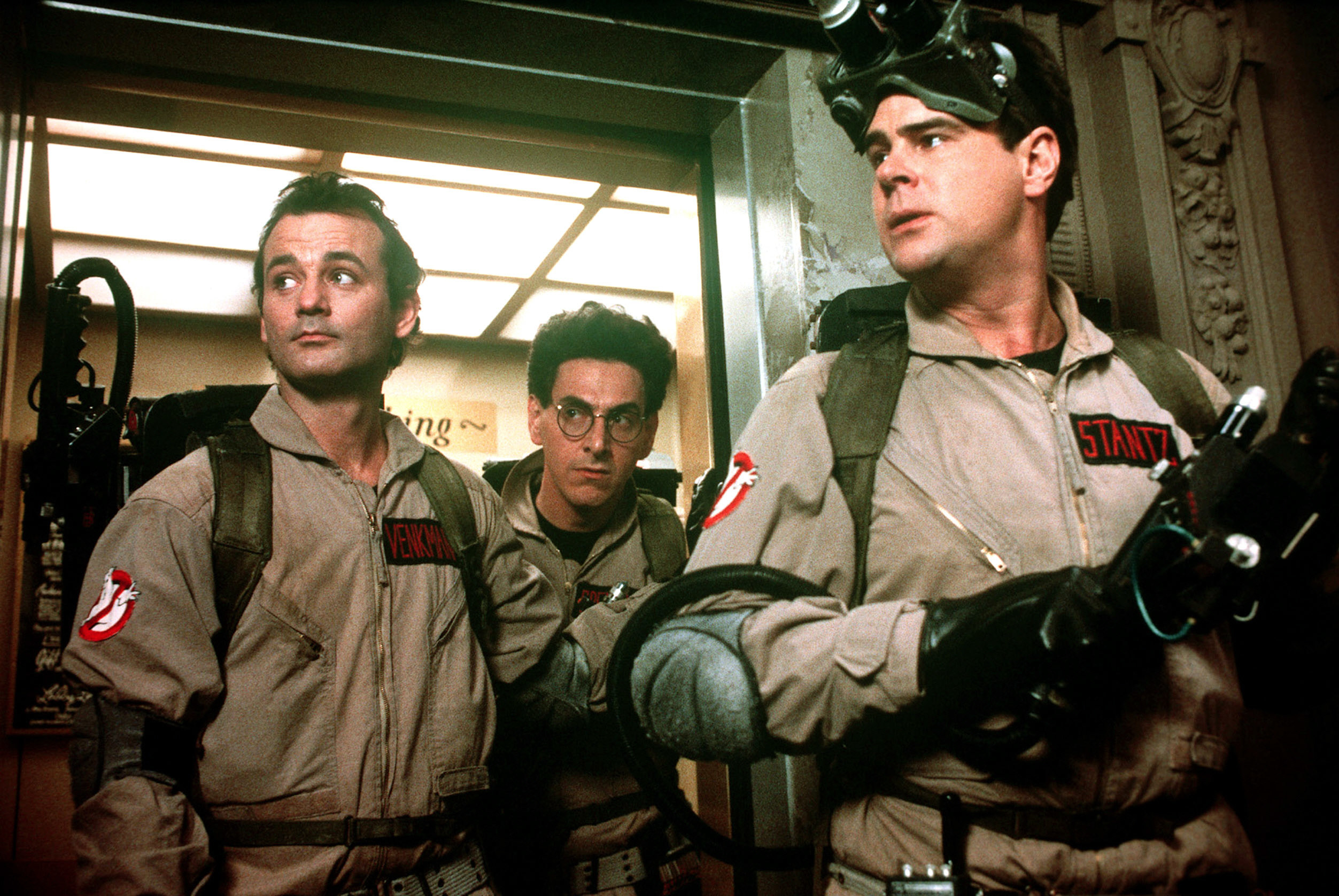 """Bill Murray, Harold Ramis, and Dan Aykroyd in """"Ghostbusters"""""""