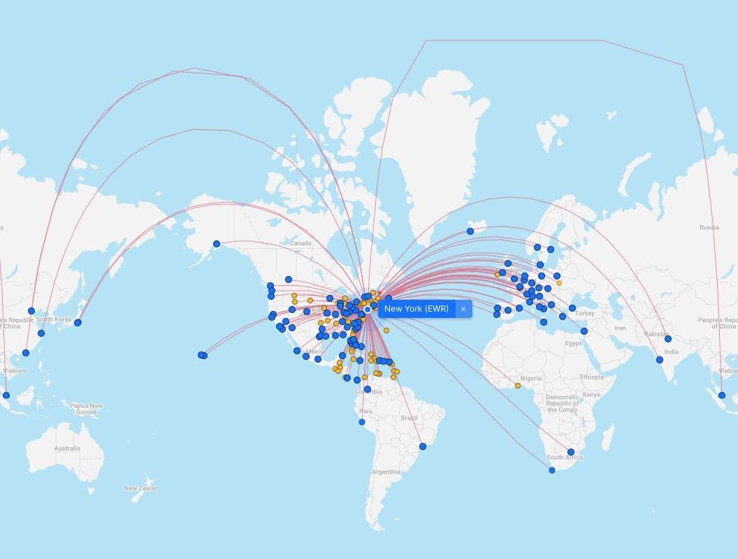 Screenshot of direct flights from Newark, New Jersey
