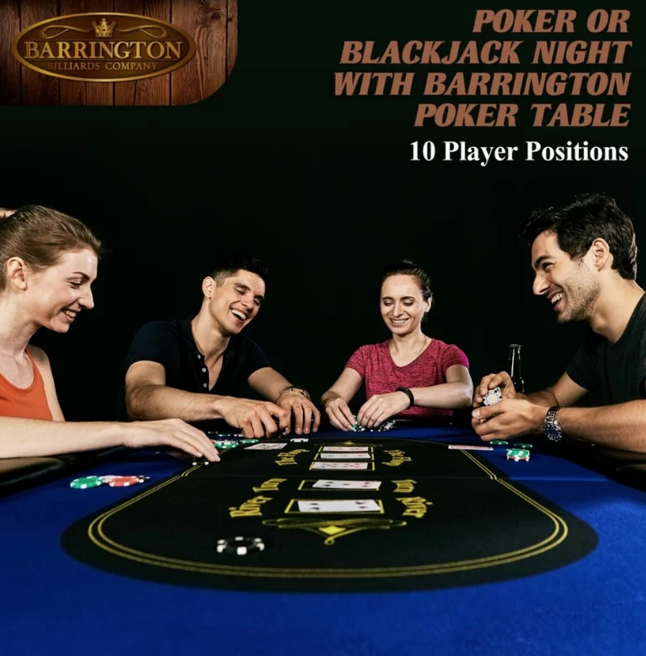 Models playing poker on a blue and black, 10-person poker table
