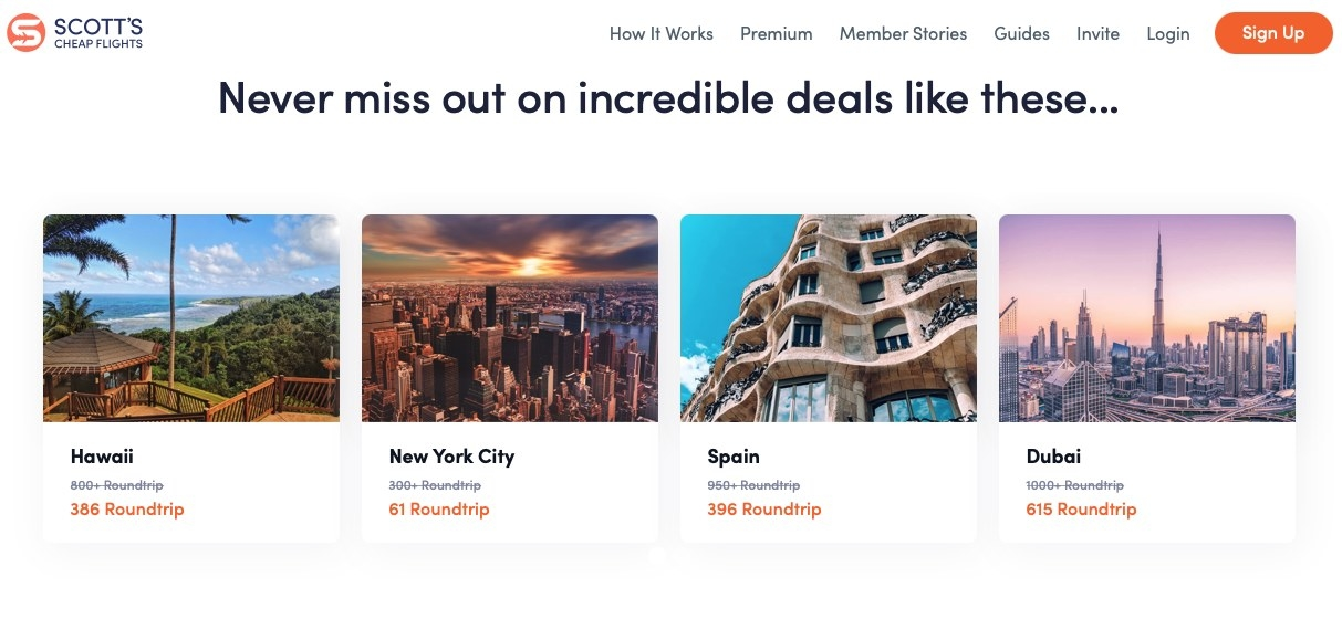 Screenshot of great travel deals