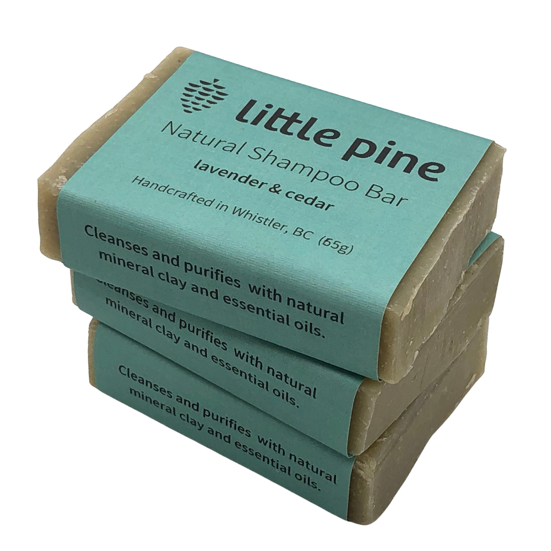 three little pine shampoo bars stacked on top of one another