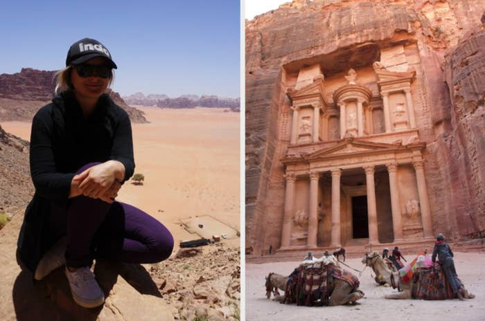 Woman in the desert and camels in front of Petra