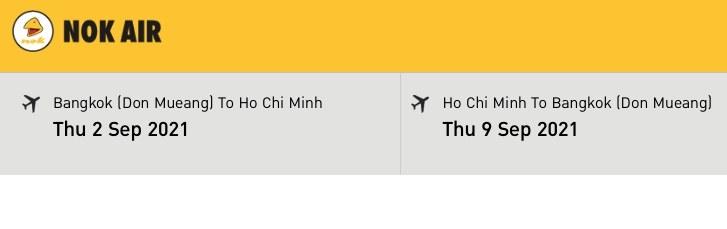 Screenshot of a sample flight from Bangkok to Ho Chi Minh