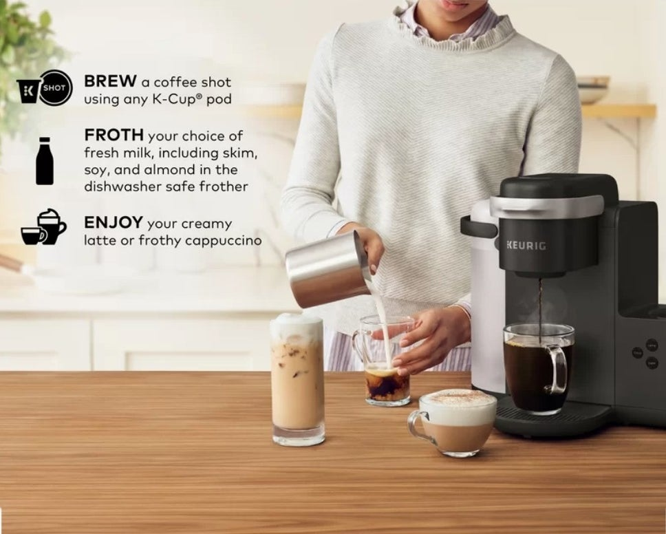 A model pouring milk into a cup of coffee next to the Keurig K-Cafe machine