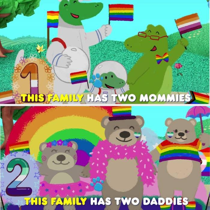 有同性恋父母的家庭游行彩车