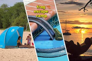 sun canopy, frog escape ramp, hammock