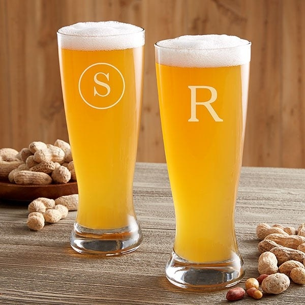 """two beer pints with an """"S"""" and an """"R"""" monogram"""