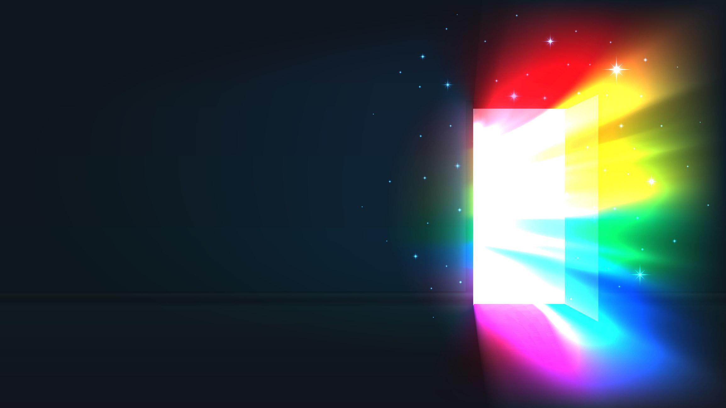 LGBT rainbow light from the open door of a dark room