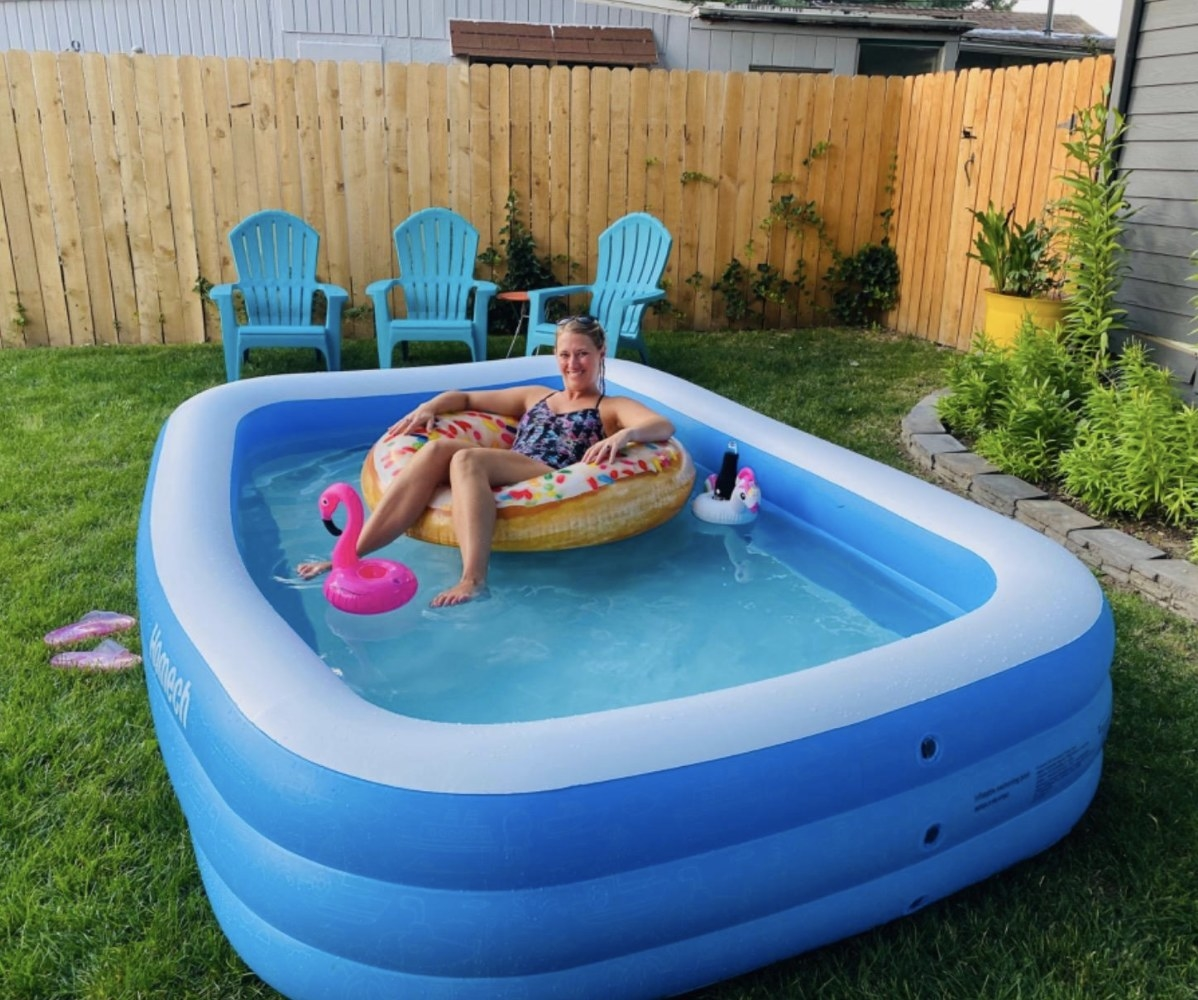 A person in an inflatable pool