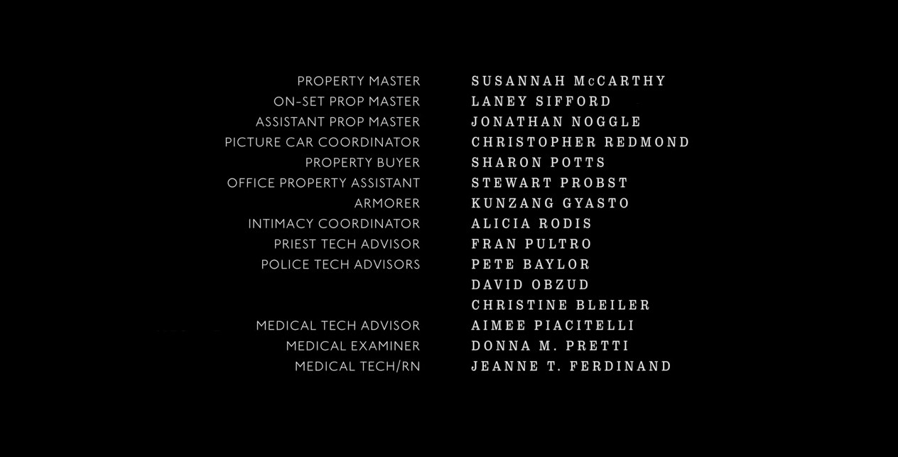 End credits where Christine Bleiler has been credited as one of the police tech advisers