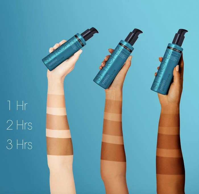 the progression of the self tanner over three hours on different skin tones