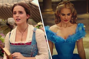 """On the left, Emma Watson as Belle in the live-action """"Beauty and the Beast,"""" and on the right, Lily James as Cinderella in the live-action """"Cinderella"""""""