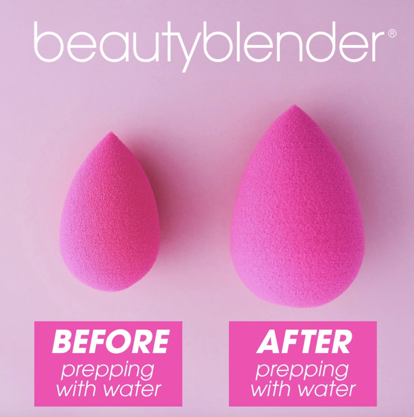 the beauty blender with and without water