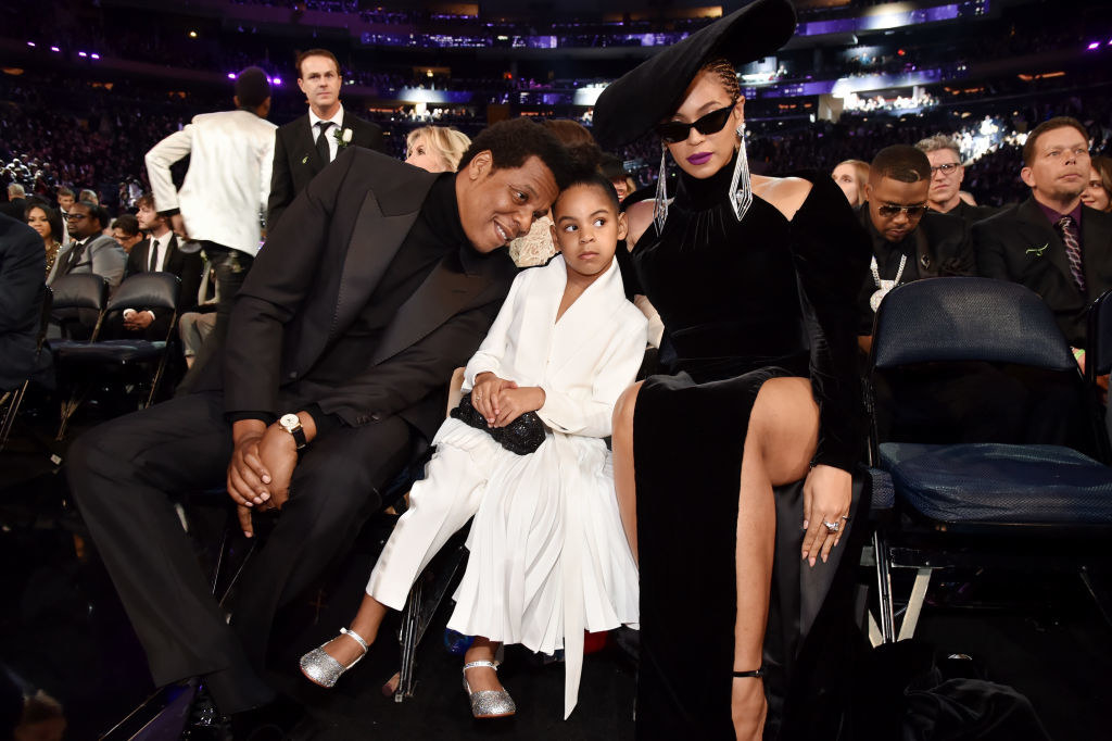 Jay-Z, daughter Blue Ivy Carter, and recording artist Beyoncé attend the 60th Annual Grammy Awards