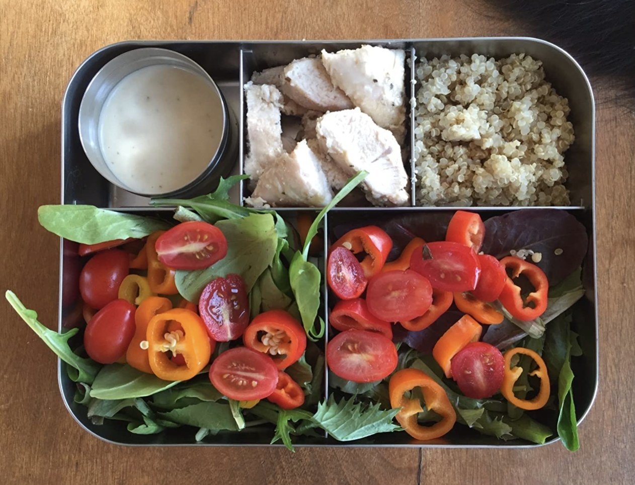 reviewer photo showing their lunch in the stainless steel bento box