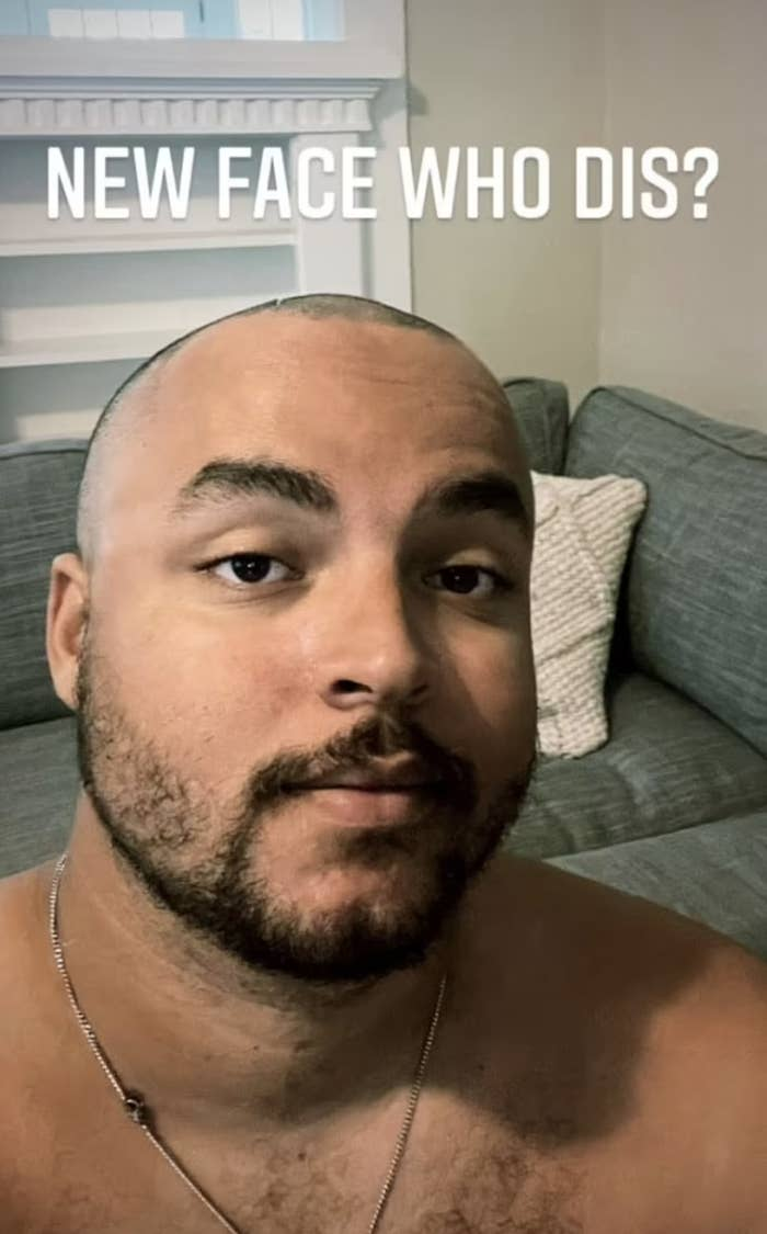 Connor takes takes a selfie with a shaved head and short beard