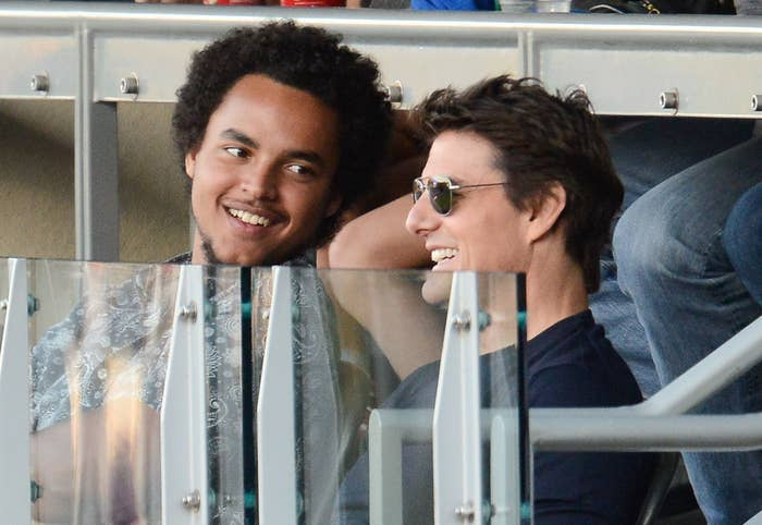 Connor smiles at his dad Tom while at a sporting event