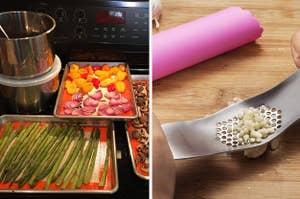 Sheet pans with veggies / a garlic mincer