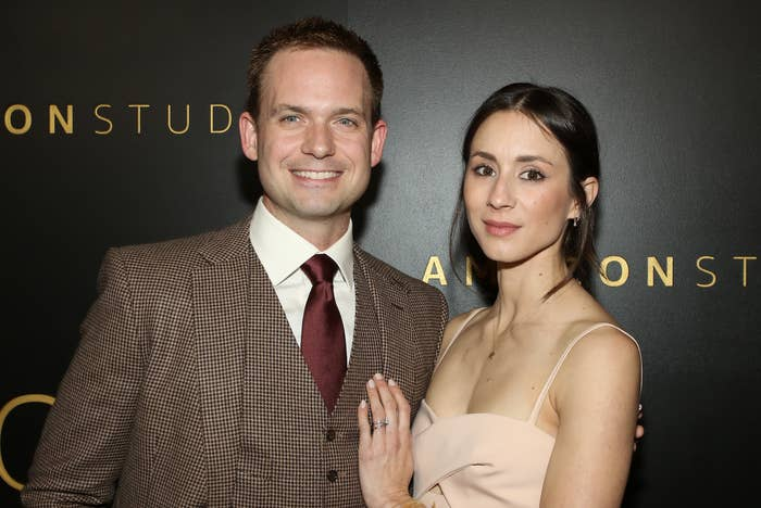 Actors Patrick J. Adams and Troian Bellisario attend Amazon Studios Golden Globes after party at The Beverly Hilton Hotel on January 05, 2020 in Beverly Hills, California