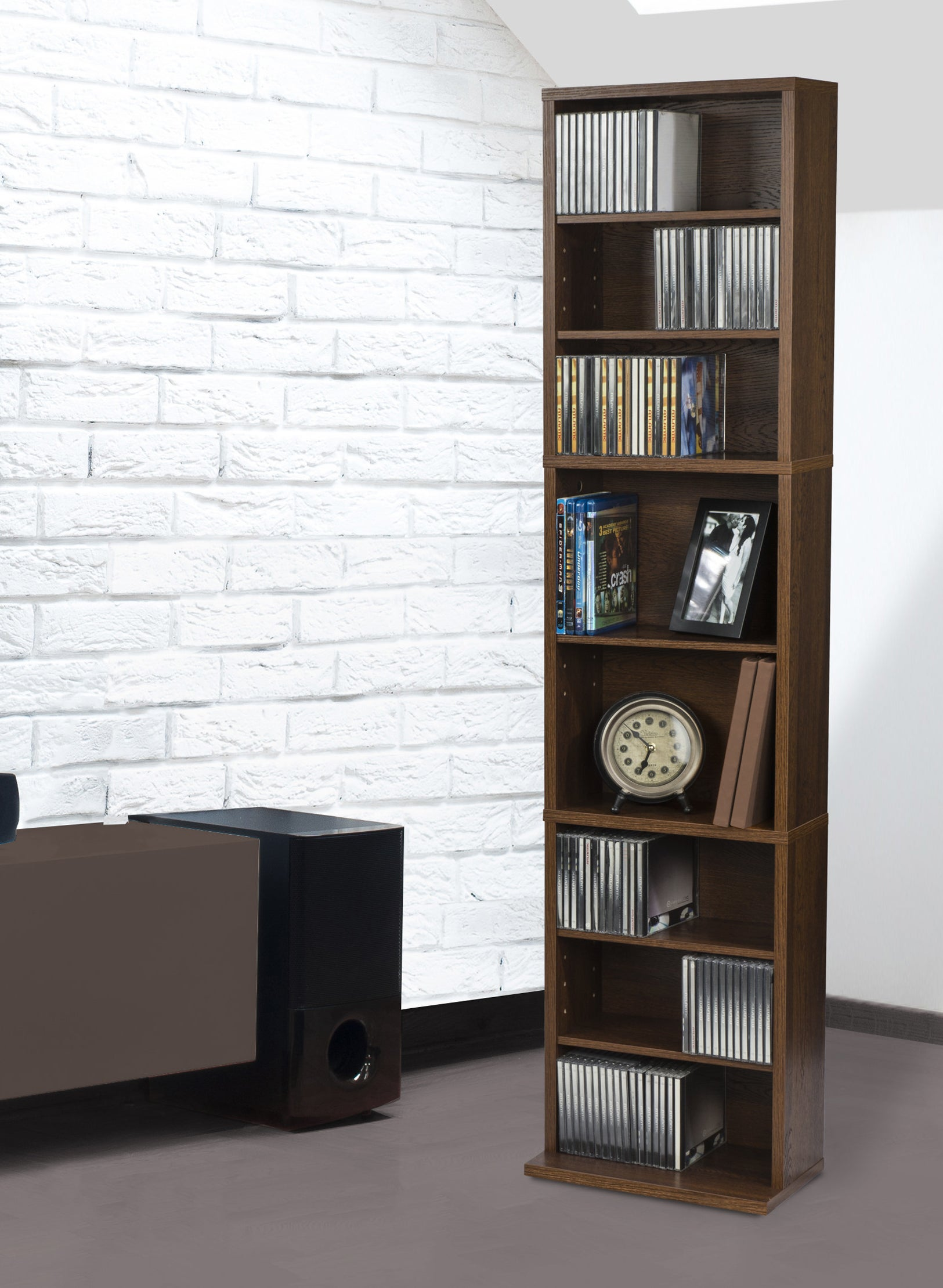 a brown bookcase