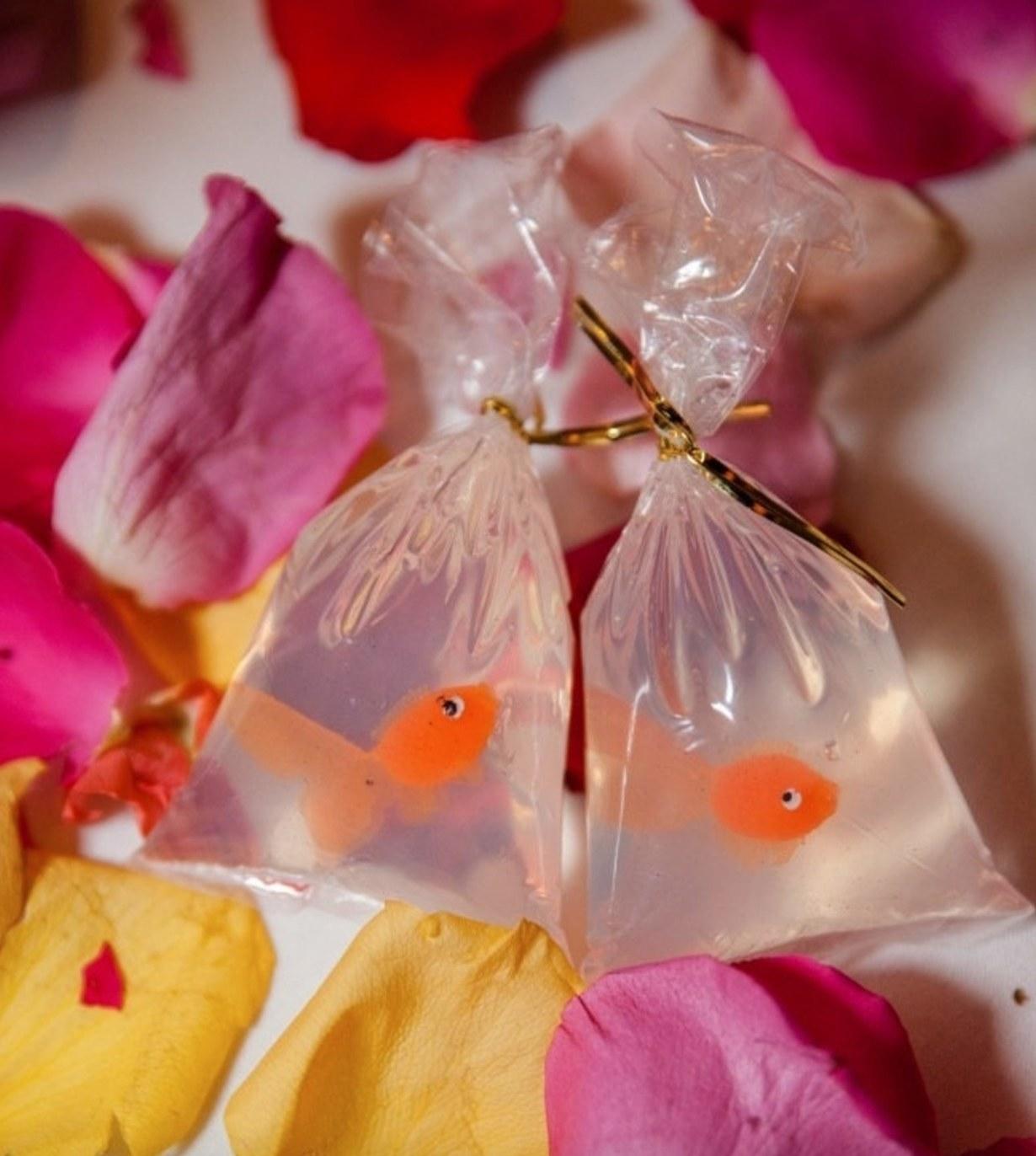 The bag of goldfish soap in orange