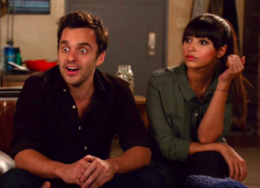 """Nick and Cece from """"New Girl"""" looking amused and at a loss for words"""