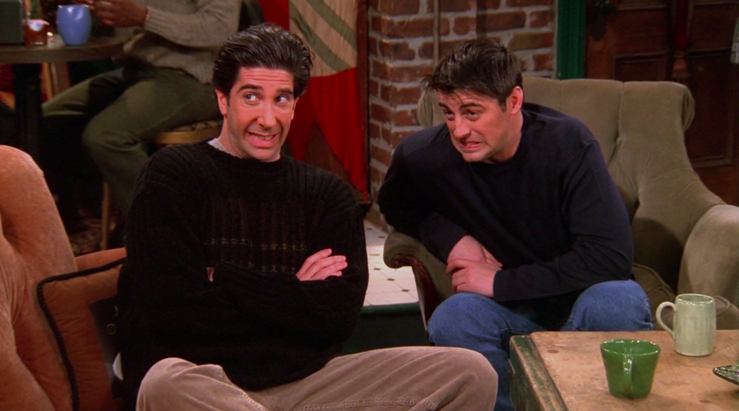 """Joey and Ross from """"Friends"""" cringing"""