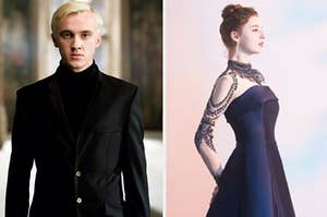 Draco Malfoy in a black tux next to a woman in an elegant gown