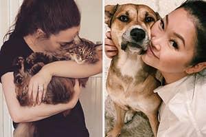 Kat Dennings snuggling her cat, next to Lana Condor and her dog