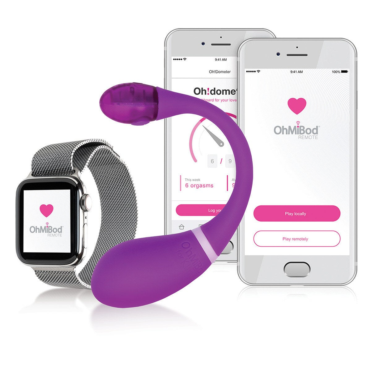 Purple vibrator with watch and smart phones