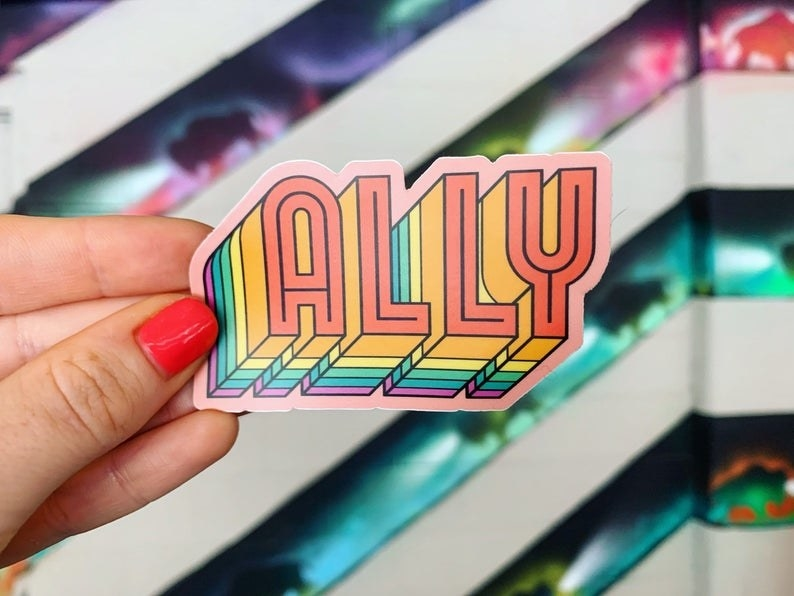 """rainbow word pop magnet that says """"ally"""" in model's hand"""