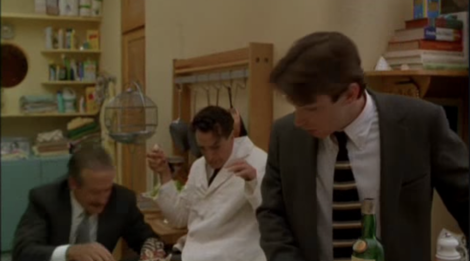 Everyone reacts to robin williams tripping during a scene