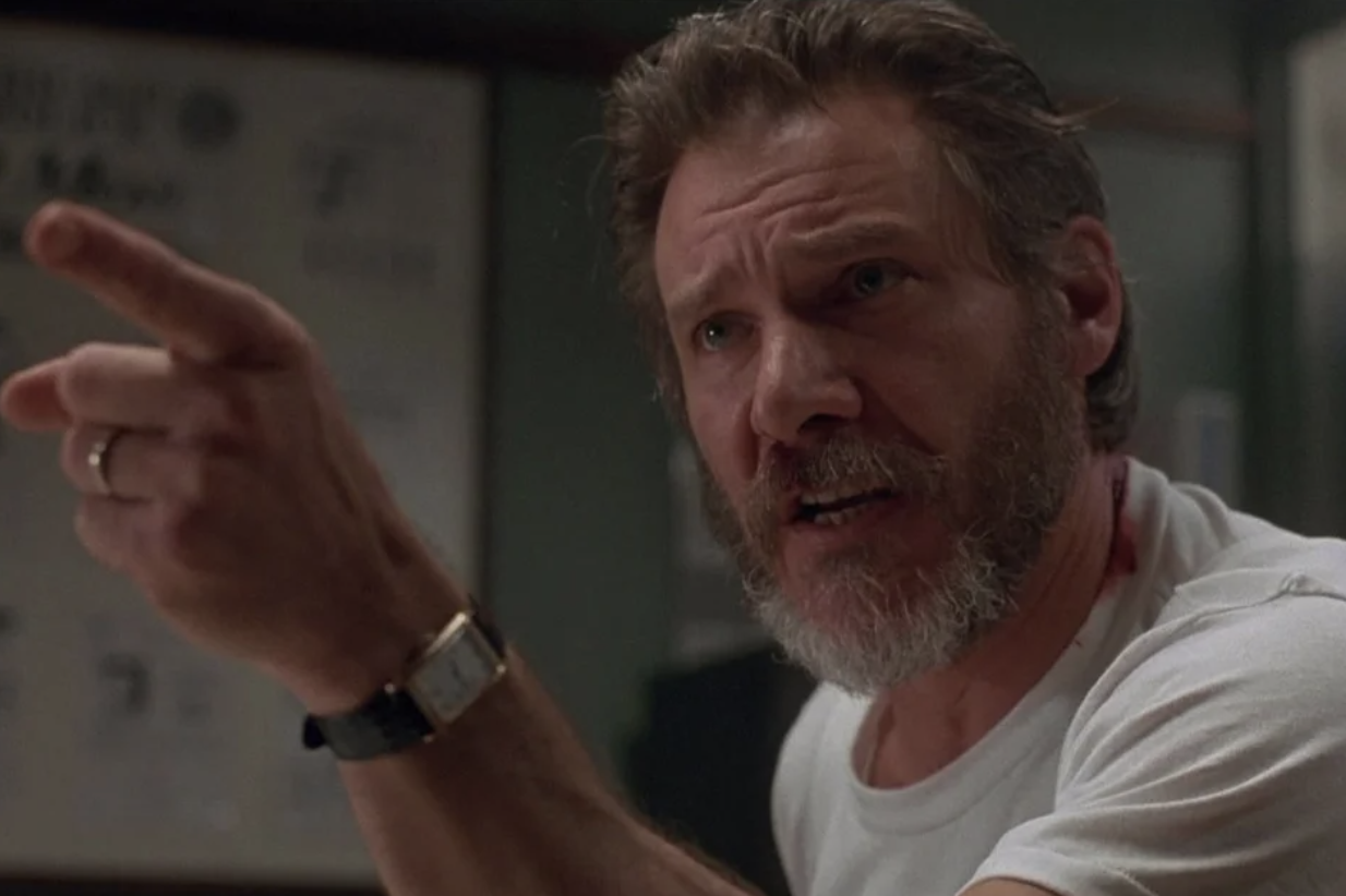 Harrison Ford angrily pointing
