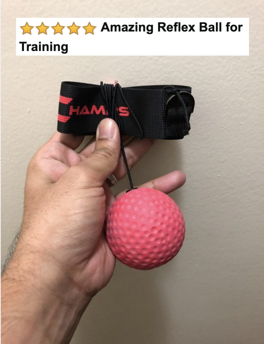 """Reviewer holding the head band and ball kit with five-star caption """"amazing reflex ball for training"""""""