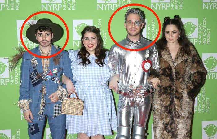 Noah Galvin, Beanie Feldstein, Ben Platt and Molly Gordon dressed as The Scarecrow, Dorothy, The Tin Man and The Lion, respectively, attend Bette Midler's 2019 Hulaween at New York Hilton Midtown on October 31, 2019 in New York City