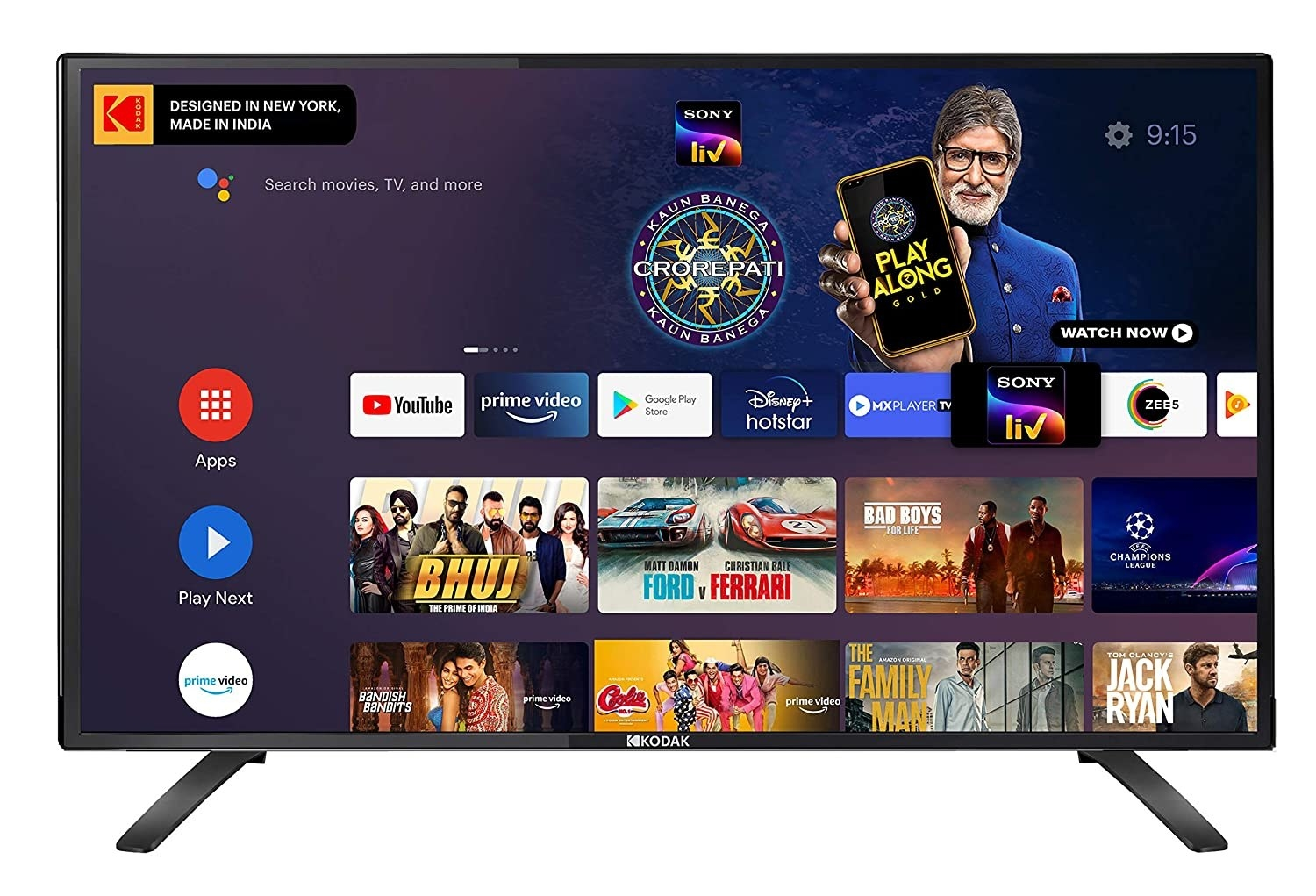 A Kodak HD Certified Android LED TV in black.