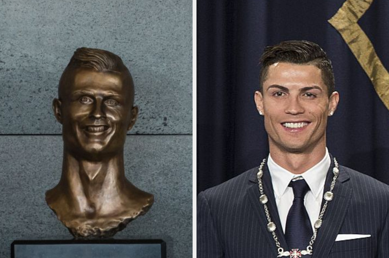 Bust of Cristiano Ronaldo next to Cristiano Ronaldo